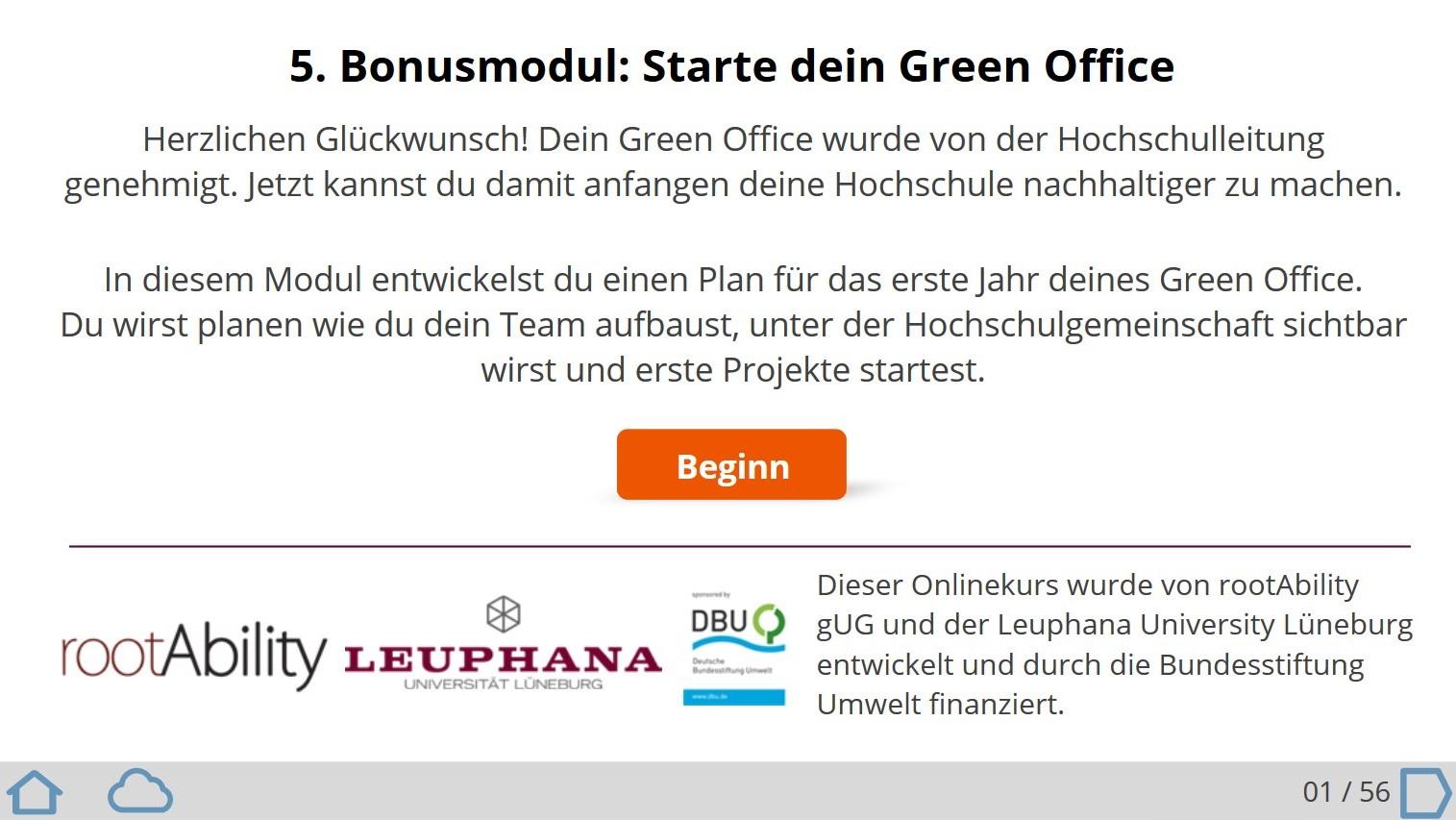 Onlinekurs über die ersten Schritte nachdem das Green Office genehmigt wurde
